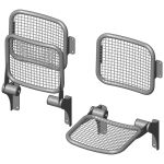 Fold down seat with wire-mesh sitting surface and back rest; wall-mounted