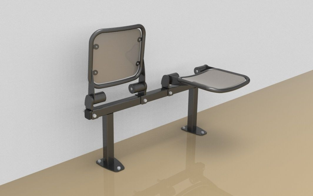 Twosome fold down sitting bench with smooth aluminium sitting surface