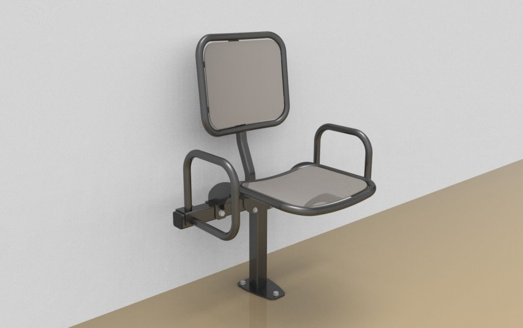 Single rigid sitting bench with smooth aluminium sitting surface, back rest and arm rests