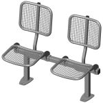 Twosome rigid sitting bench with wire mesh sitting surface and back rest