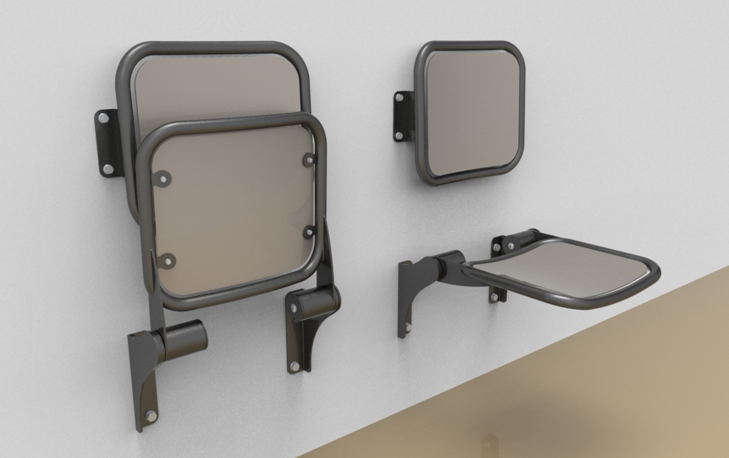 Fold down seat with smooth aluminium sitting surface and back rest ...